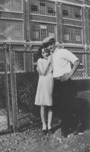 Marie and Arthur Landsbury in front of the Wagner Electric Manufacturing Plant